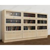 шкаф для книг с витражом цвета молочный беленый дуб