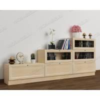 низкий книжный шкаф со стеклом цвета молочный беленый дуб