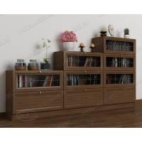 книжный шкаф со стеклянными дверями c витражным стеклом цвета шимо темный