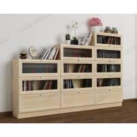 книжный шкаф со стеклянными дверцами шириной 120-135 см цвета молочный беленый дуб