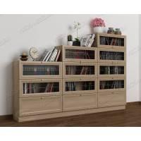 книжный шкаф со стеклянными дверцами шириной 120-135 см цвета шимо светлый