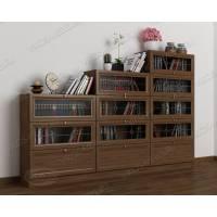 книжный шкаф со стеклянными дверцами шириной 120-135 см цвета шимо темный