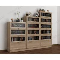 3-створчатый книжный шкаф c витражным стеклом