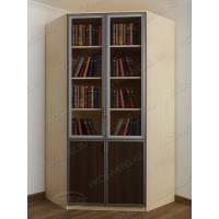 шкаф угловой для книг цвета беленый дуб - венге