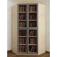 угловой шкаф для книг цвета беленый дуб - венге