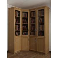 угловой шкаф для книг цвета бук