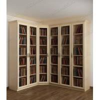 угловой шкаф для книг цвета молочный беленый дуб