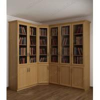 шкаф угловой для книг цвета бук