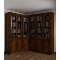 шкаф угловой для книг цвета яблоня