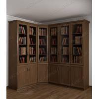 шкаф угловой для книг цвета шимо темный