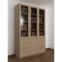 книжный шкаф со стеклянными дверцами с ящиками цвета шимо светлый