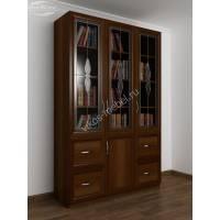 книжный шкаф со стеклянными дверцами с ящиками цвета яблоня