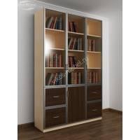 широкий книжный шкаф со стеклянными дверцами цвета беленый дуб - венге