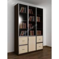 книжный шкаф со стеклянными дверцами с ящиками цвета венге - молочный дуб
