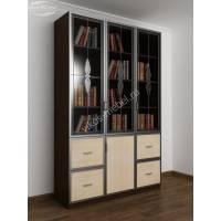 витражный книжный шкаф со стеклянными дверцами цвета венге - молочный дуб