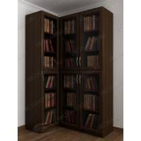 угловой шкаф для книг цвета венге