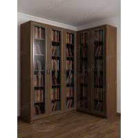 шкаф угловой для книг c витражным стеклом