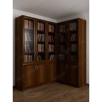 угловой шкаф для книг цвета яблоня