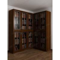 шкаф угловой для книг с витражом