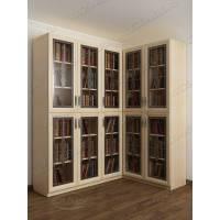 шкаф угловой для книг цвета молочный беленый дуб