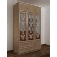 трехстворчатый шкаф для одежды и белья цвета шимо светлый