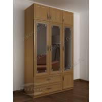 зеркальный трехстворчатый шкаф для одежды и белья