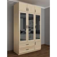 шкаф для одежды и белья в спальню цвета молочный беленый дуб