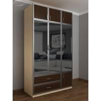 трехстворчатый шкаф для одежды и белья цвета беленый дуб - венге