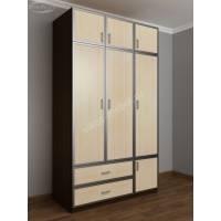 трехстворчатый шкаф для одежды и белья цвета венге - молочный дуб