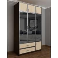 шкаф для одежды и белья в спальню цвета венге - молочный дуб