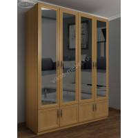 широкий шкаф для одежды с антресолью