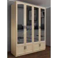 зеркальный шкаф для одежды цвета молочный беленый дуб