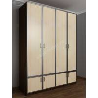 широкий шкаф для одежды цвета венге - молочный дуб