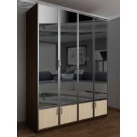 шкаф для одежды с антресолью цвета венге - молочный дуб