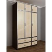 трехдверный шкаф с распашными дверями цвета венге - молочный дуб