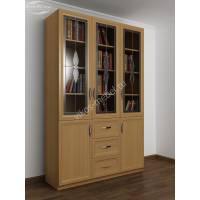 витражный книжный шкаф с выдвижными ящиками