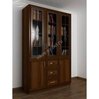 большой книжный шкаф c витражным стеклом