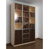 книжный шкаф с выдвижными ящиками цвета беленый дуб - венге