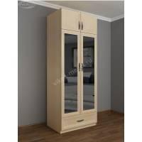 двухстворчатый шкаф для одежды и белья цвета молочный беленый дуб