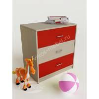 детская тумба с тремя ящиками красного цвета