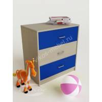 детская тумба с тремя ящиками синего цвета