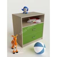 тумба для игрушек с двумя ящиками зеленого цвета