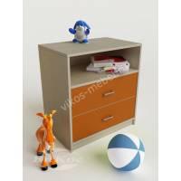 тумба для игрушек с двумя ящиками оранжевого цвета