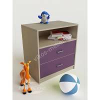 тумба для игрушек с двумя ящиками филетового цвета