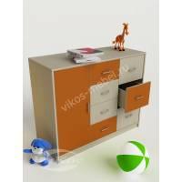 тумба в детскую с восемью ящиками оранжевого цвета