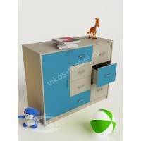 тумба в детскую с восемью ящиками цвета мармара голубой