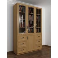 шкаф для книг с ящиками для мелочей c витражным стеклом