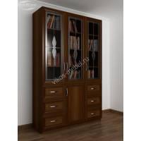 шкаф для книг с витражом шириной 120-135 см