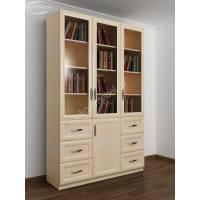 шкаф для книг с ящиками для мелочей цвета молочный беленый дуб