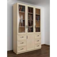 шкаф для книг шириной 120-135 см цвета молочный беленый дуб
